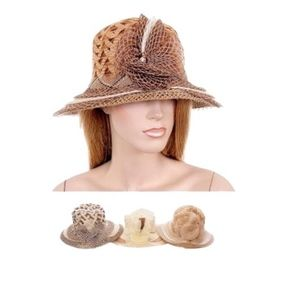 Herringbone Pattern Rosette Bucket Beach Hat